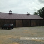 Parking lot side of the barn