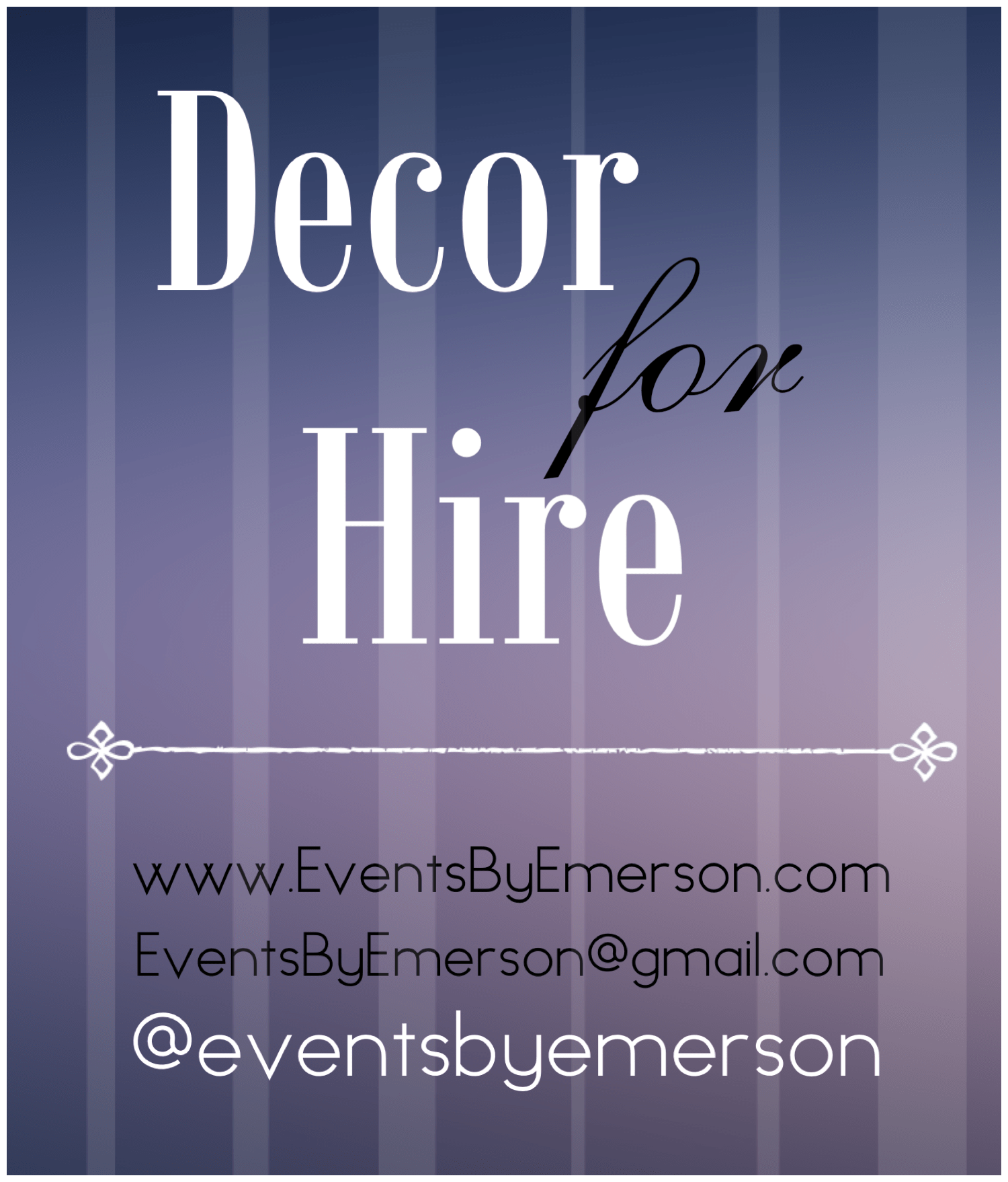 Decor for Hire Now Offered by Events by Emerson!