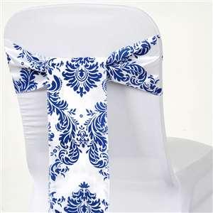 Blue and White Damask Chair Sash Image