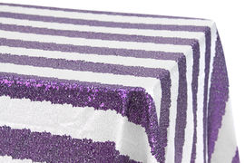 Purple & White Sequin Tablecloth Image