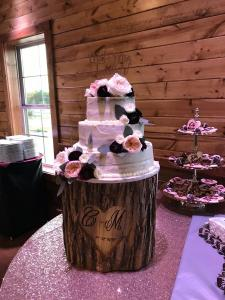 Events by Emerson - Bride's Cake on tree stump cake stand
