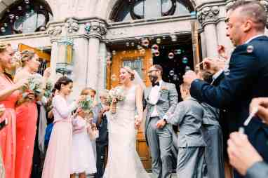 Newlyweds at St Casimir Catholic Church in Yonkers, NY