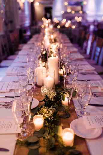 Candle lit guest table for Wedding Reception at The Briarcliff Manor