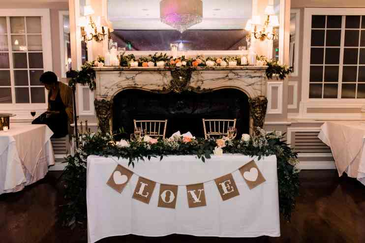 Sweetheart table for Wedding Reception at The Briarcliff Manor