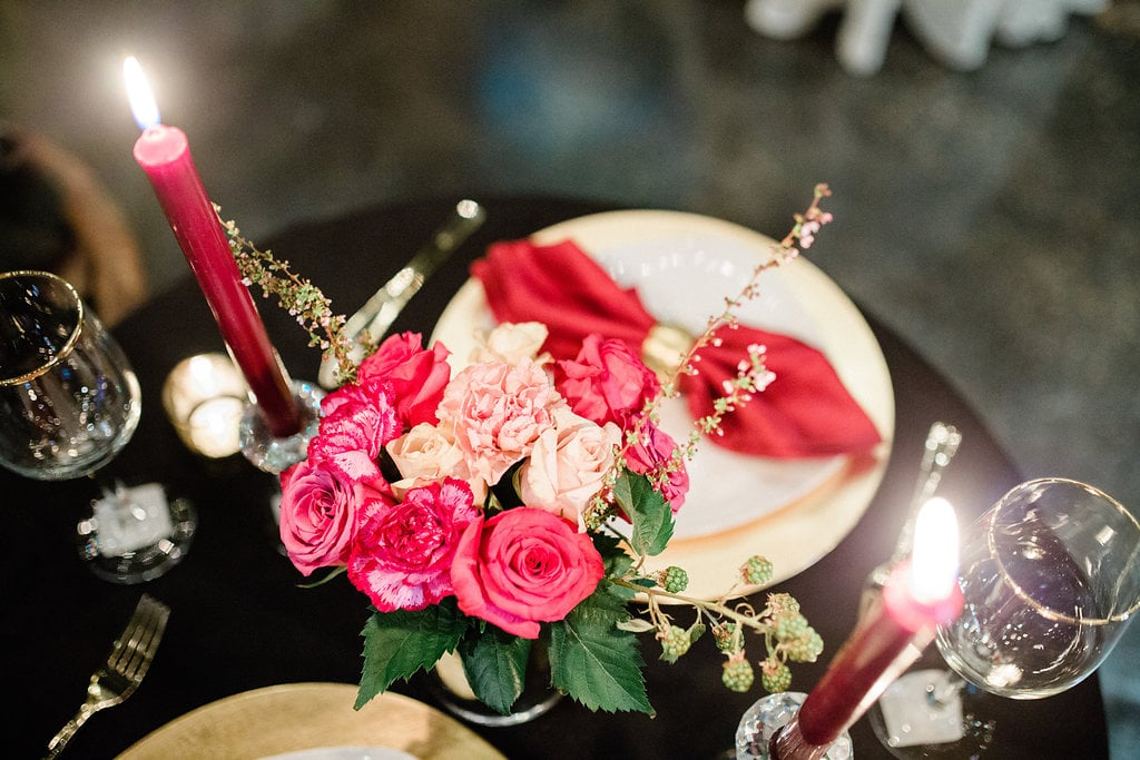 Simple Burgundy Colored Dinner Setting with Candles