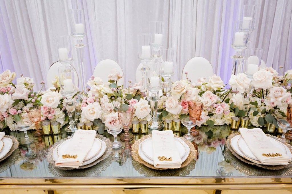 tablescape details with blush pink and gold