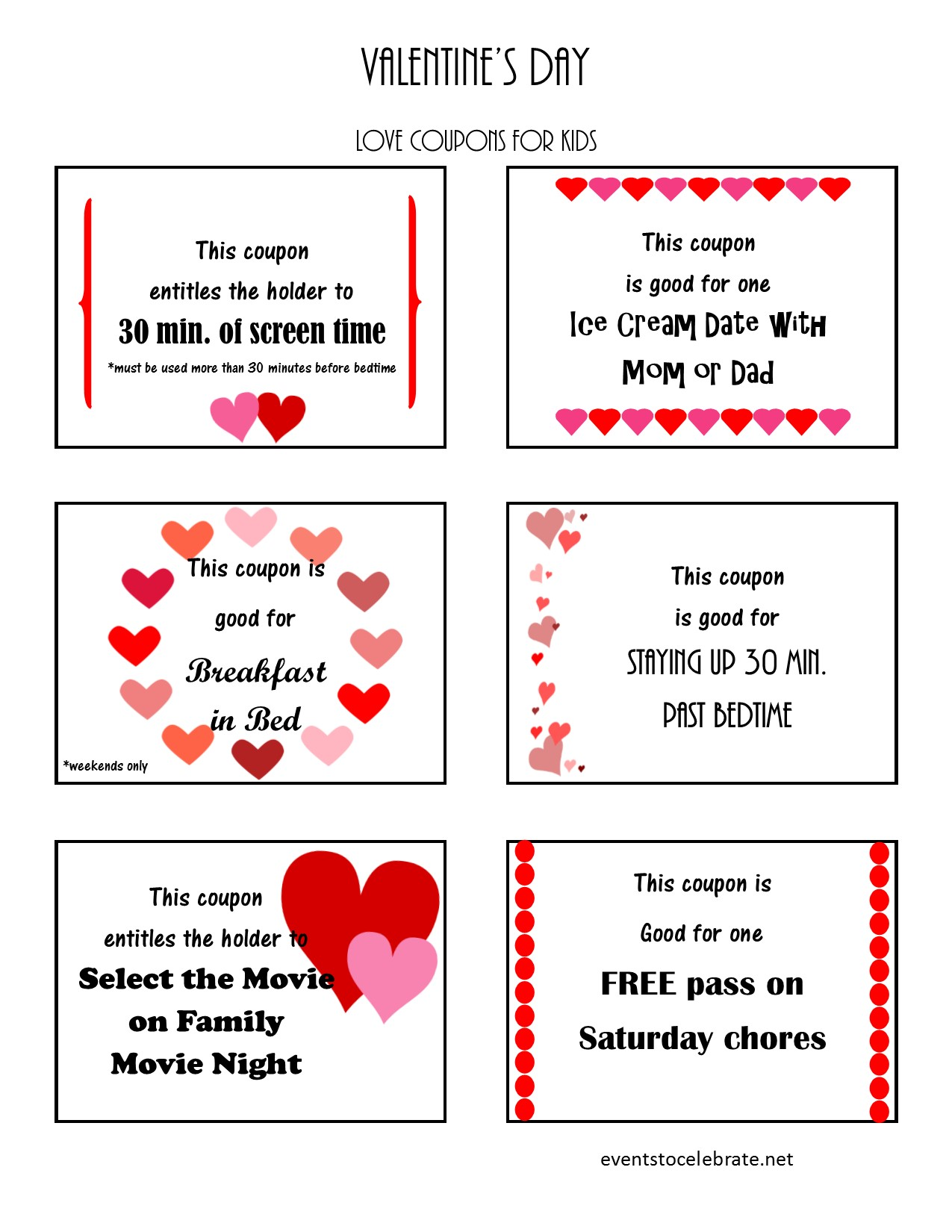 Valentine S Day Love Coupons