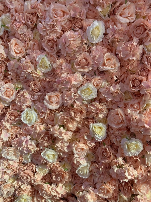 Pink and Ivory Flower Wall Hire