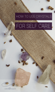 """Crystals with caption: """"How to use crystals for self care"""""""