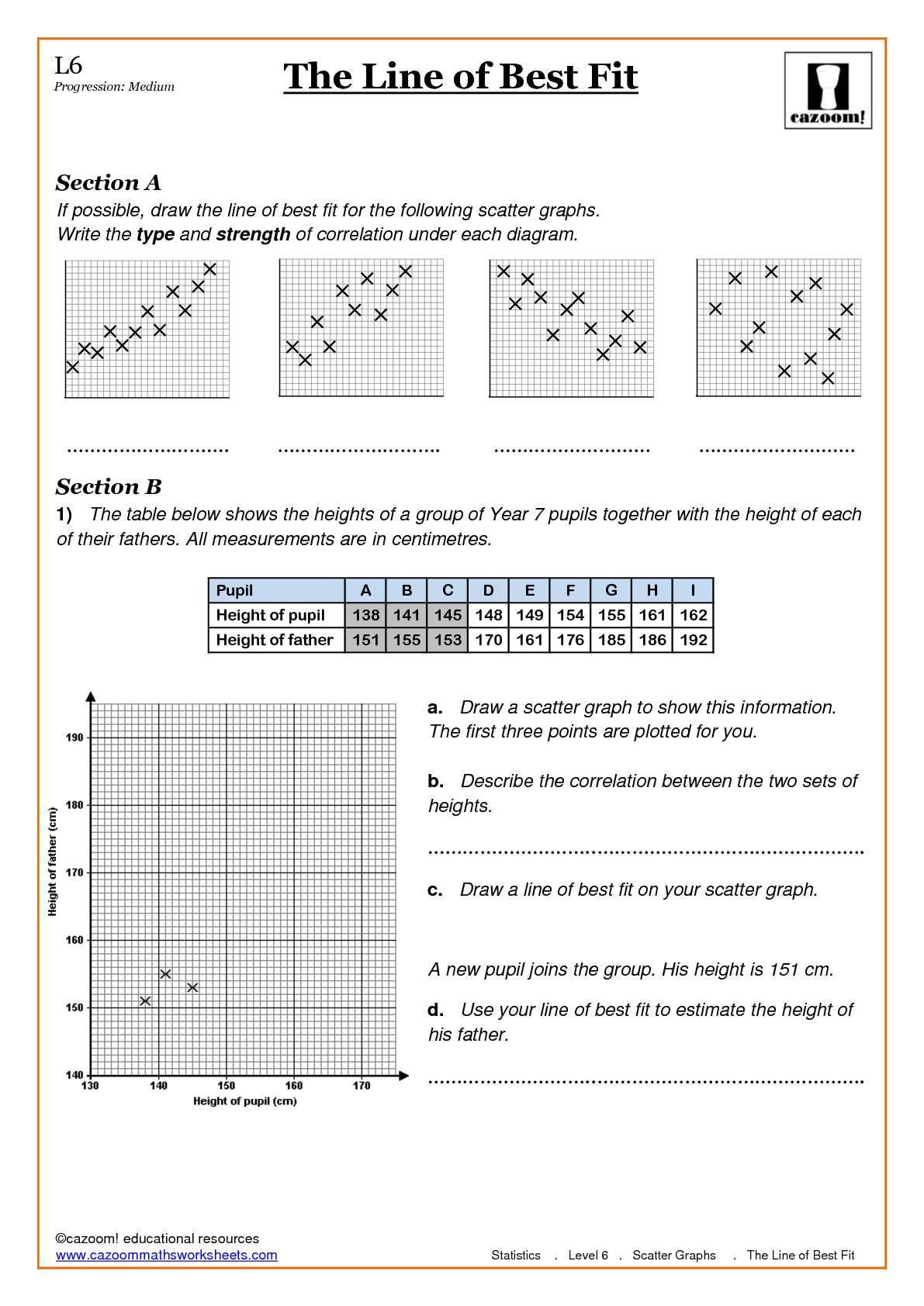 Scatter Plots Worksheets Printable Worksheet For