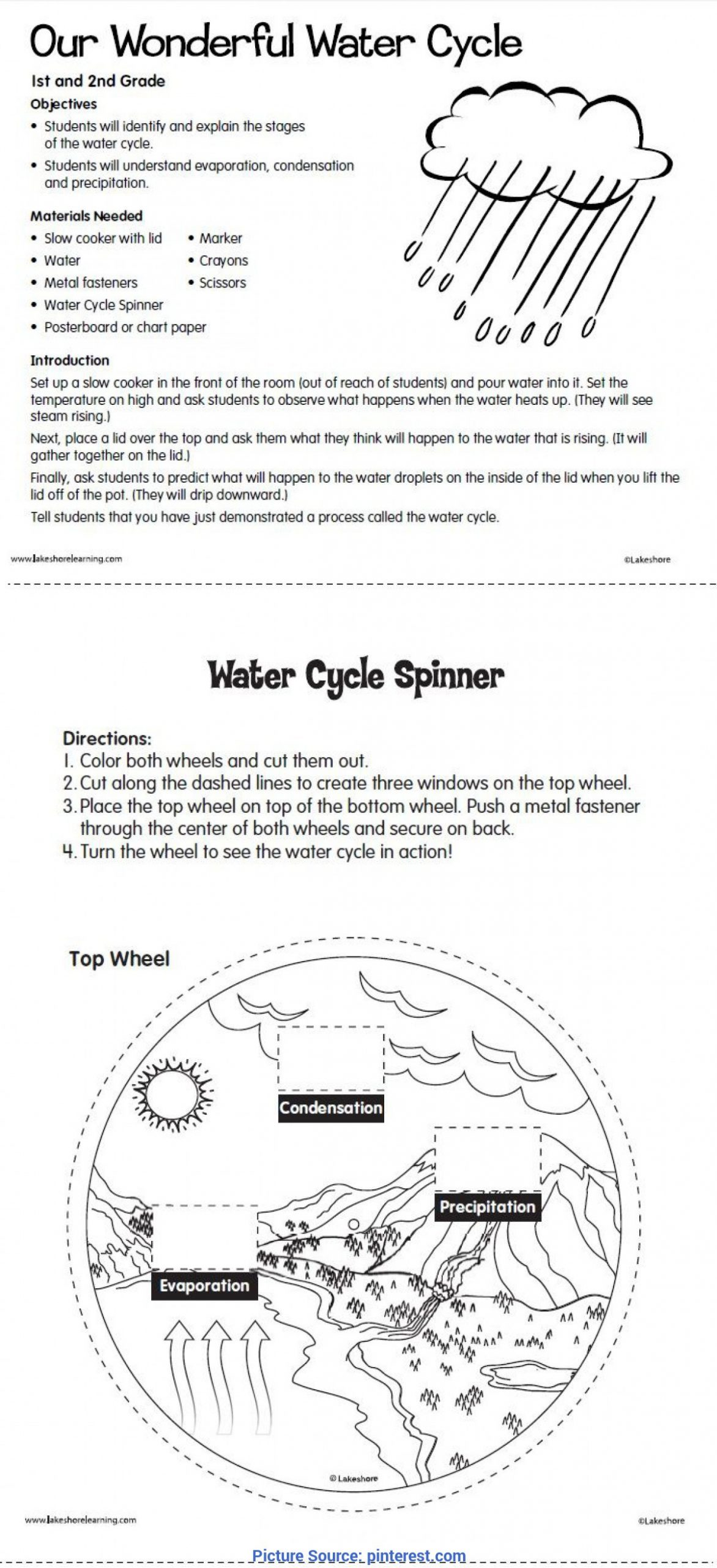 Water Cycle Kindergarten Worksheet