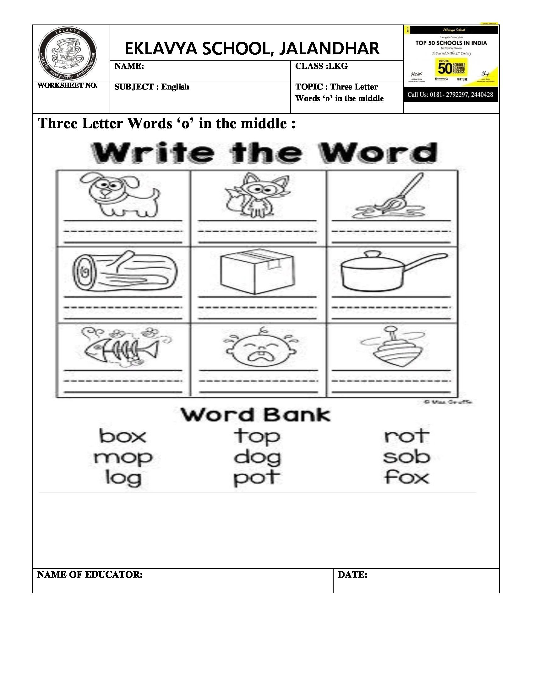 3 Letter Word Worksheet