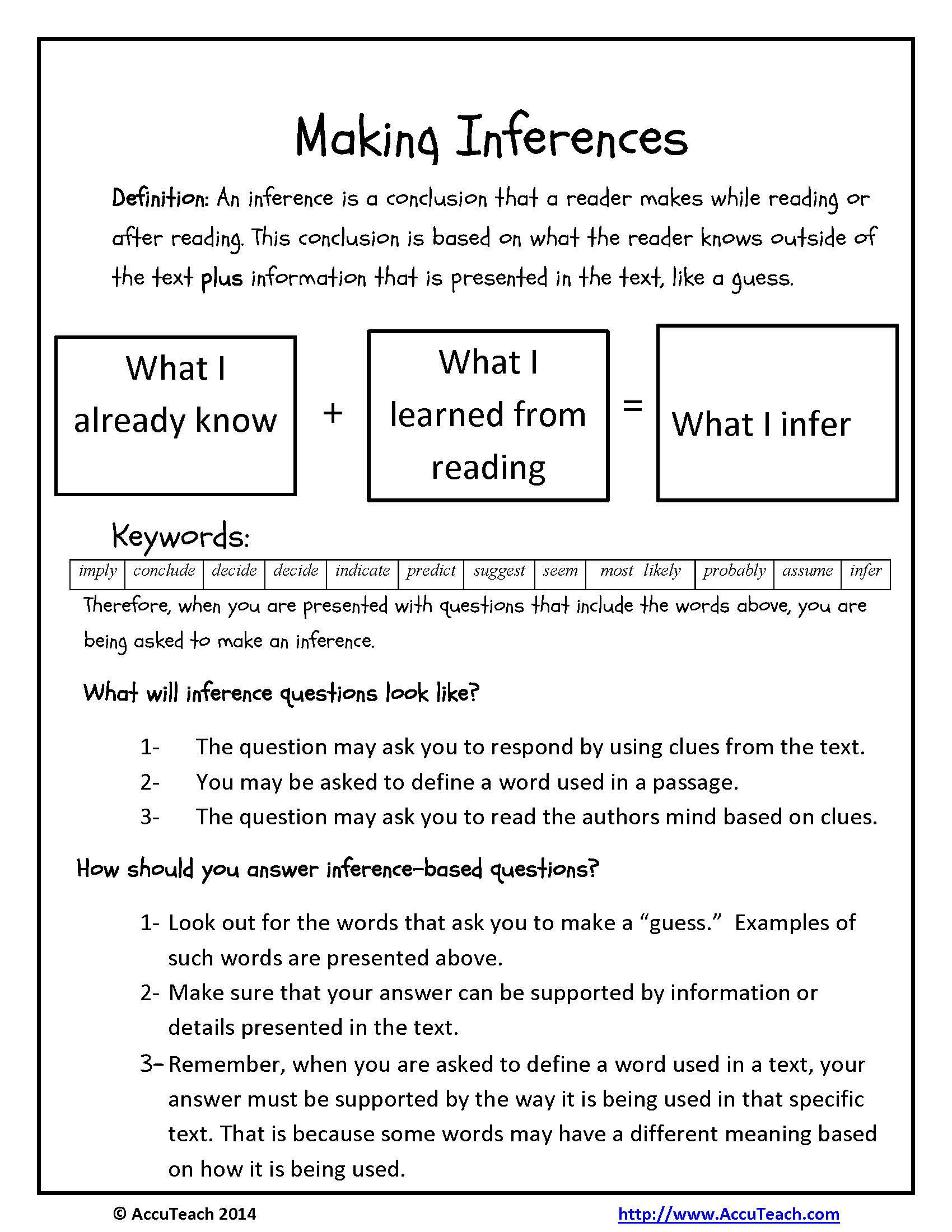 Inferencing Worksheets High School