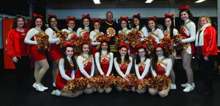 CRIMSON TIDE HOCKEY CHEERLEADERS — Top row, from left: Asst. Coach Holly Garcia, Raquel Dasilva, Izabelle Souza, Kaleigh Flint, Sophia Goodwin, Captain Myah Blauvelt, Reggie Lemelin, Angelina Falzone, Victoria Arzola, Elizabeth Peach, Captain Kelsey Payne, Alicia Belluscio, and Coach Valerie Ward. Bottom row, from left: Olivia Perry, Nathalia Haubert, Eduarda Bernardo, Alexia Arloro, Alexa Stevens, and Ashley Yebba.