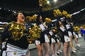 Pope John Cheerleaders celebrate the Tigers' victory over Mashpee in Monday's Div. 4 State Semifinal.