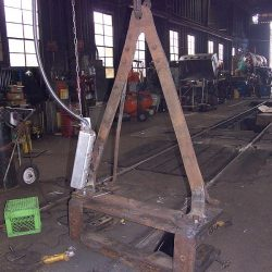 November 2013: Number 11's pony truck has been disassembled in preparation for inspection and repair at the Western Maryland Scenic Railroad shops.