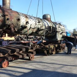 March 19, 2018: To facilitate rebuilding, Number 38's boiler is moved onto a dolly at Claysburg, prior to being moved inside our steam shop.  Alan W. Maples, photograph