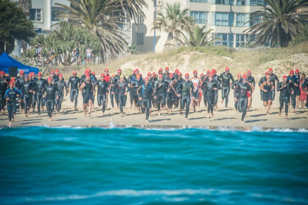 With water safety top of mind the organisers of South Africa's leading off road triathlon, the Fedhealth XTERRA, will once again rely on the expertise of the Kings Beach Surf Life Saving Club to ensure the water safety of all entrants taking part in the Fedhealth XTERRA Nelson Mandela Bay at the picturesque Kings Beach (Eastern Cape) the weekend of 10 – 12 February 2017.  Seen here:  XTERRA Warriors at the start of the 2016 Fedhealth XTERRA Nelson Mandela Bay.  Photo Credit:  Tobias Ginsberg