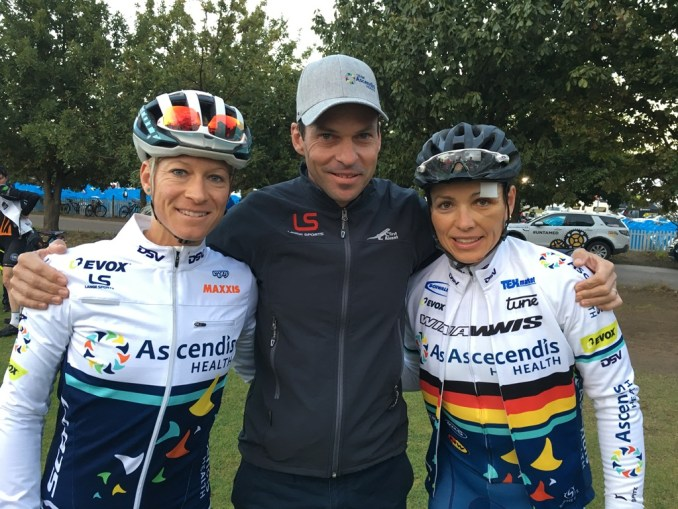 Robyn de Groot (left) will be teaming up with Sabine Spitz (right) for Melcom Lange's (centre) Team Ascendis Health. Photo by Team Ascendis Health.