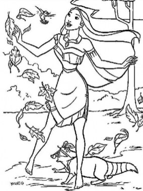 Free Simple Pocahontas Coloring Pages for Children CM3XV