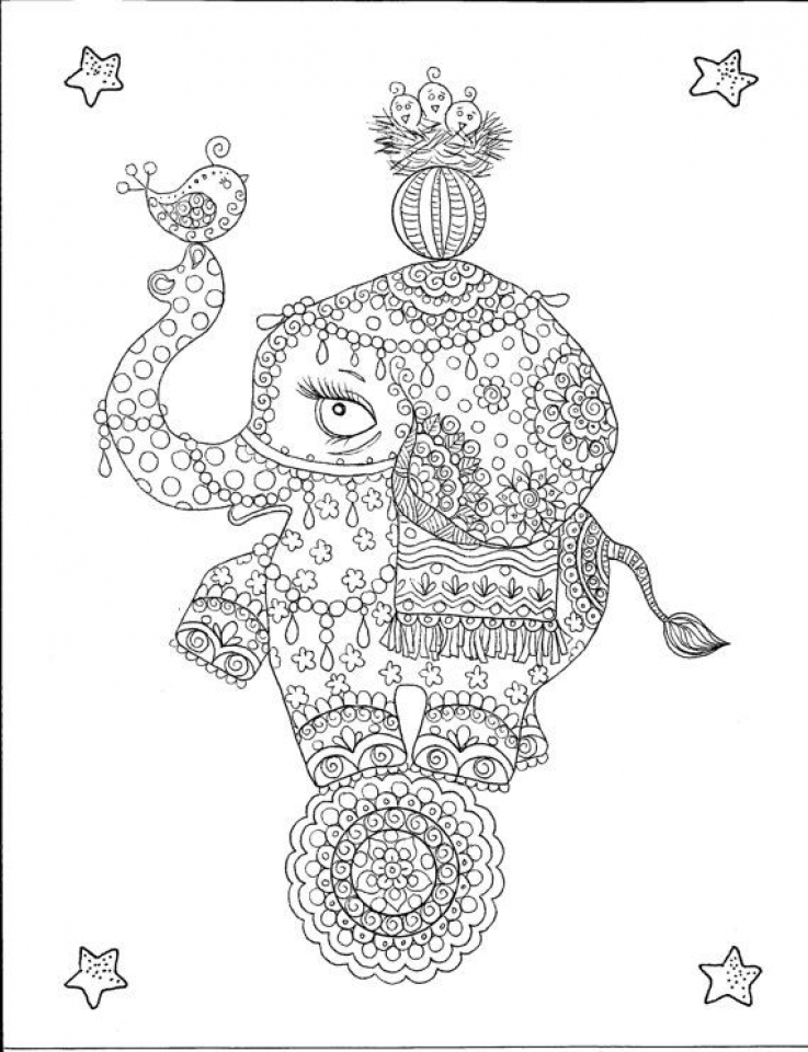 Advanced Elephant Coloring Pages   963178