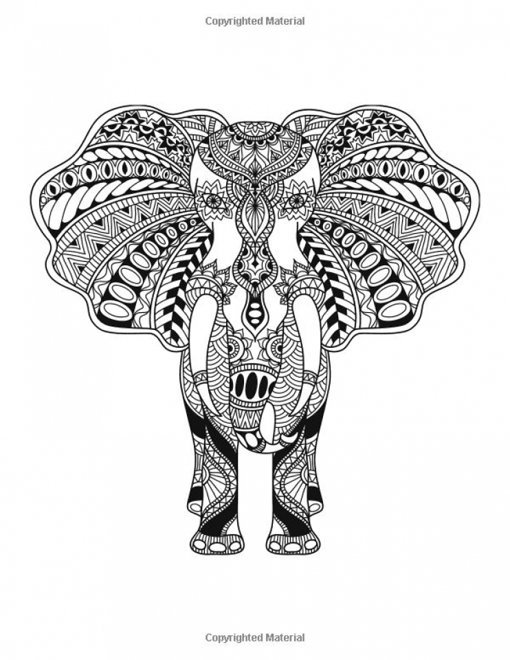 Challenging Coloring Pages of Elephant for Adults   6fc3d9
