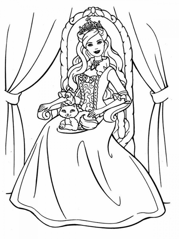 Children's Printable Barbie Coloring Pages   5te3k