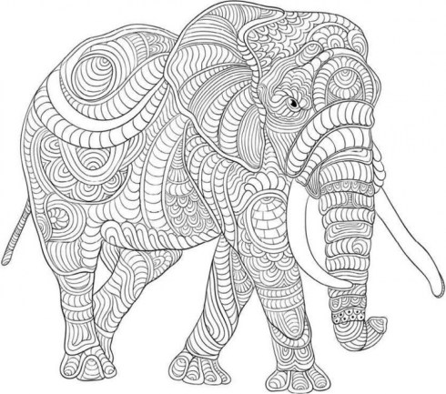 Difficult Elephant Coloring Pages for Grown Ups 25g88jh