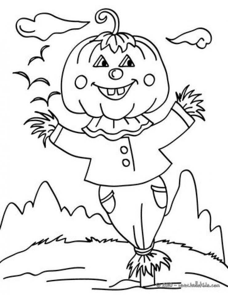 get this easy preschool printable of scarecrow coloring