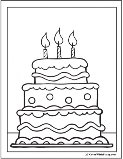 Free Birthday Cake Coloring Pages 92377