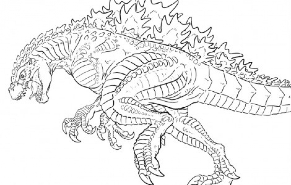 Free Simple Godzilla Coloring Pages for Children   t6gbg