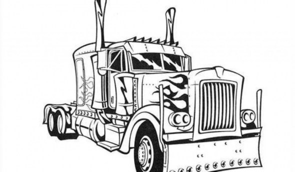 Free Simple Optimus Prime Coloring Page for Children af8vj