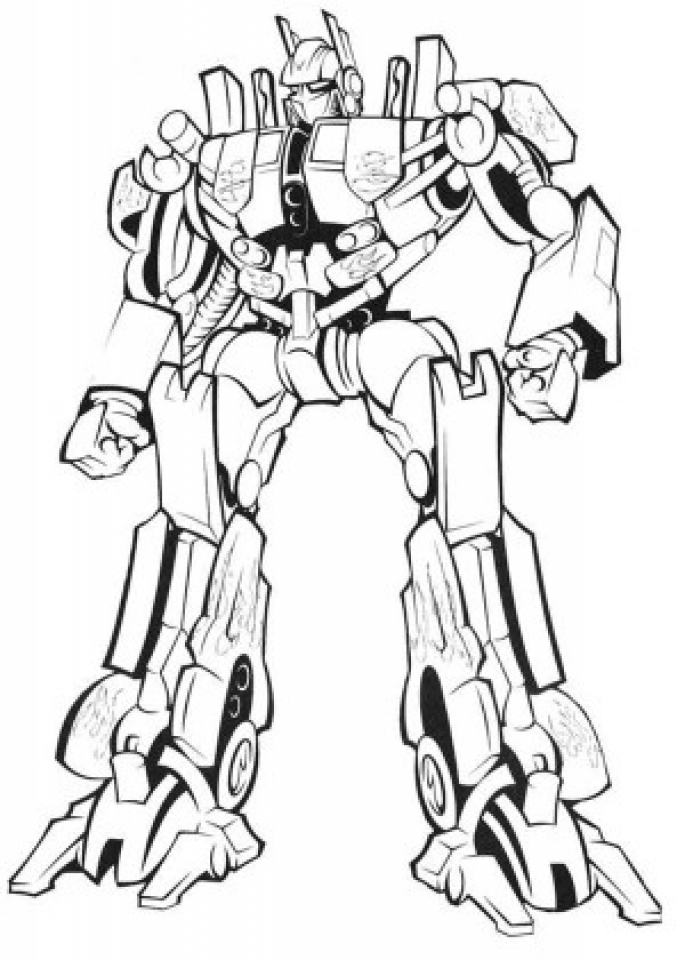 Image of Optimus Prime Coloring Page to Print for Kids   uan64