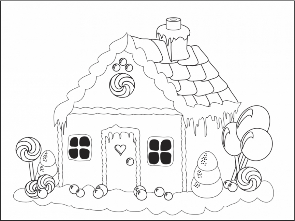 Online Gingerbread House Coloring Pages for Kids   8QgDr