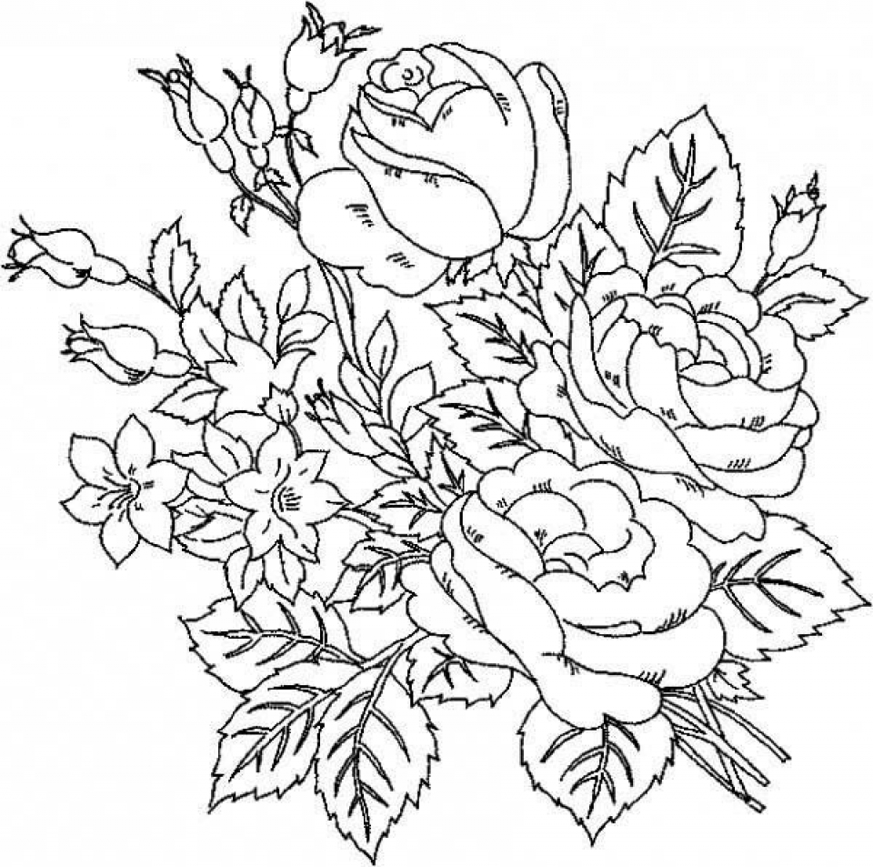 Get This Online Roses Coloring Pages For Adults 17433