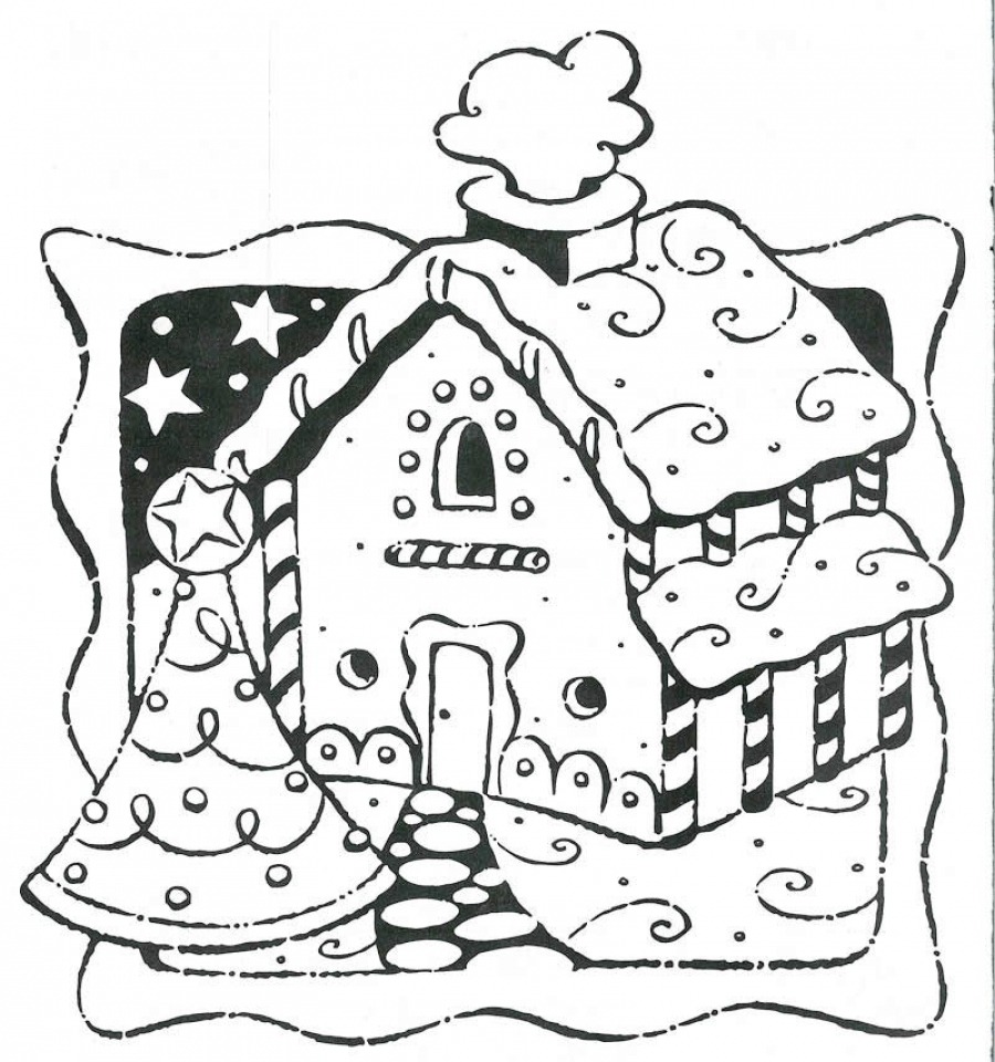 Get This Picture of Gingerbread House Coloring Pages Free ...