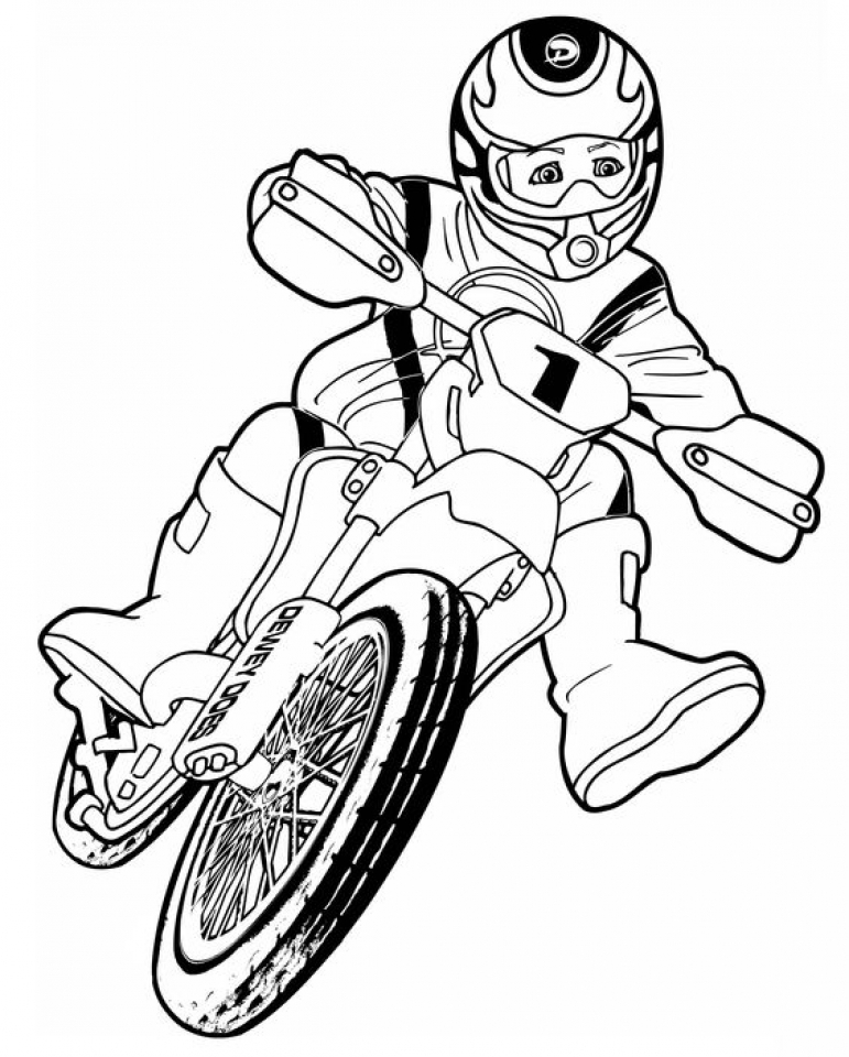 Simple Dirt Bike Coloring Pages to Print for Preschoolers   cdsxi