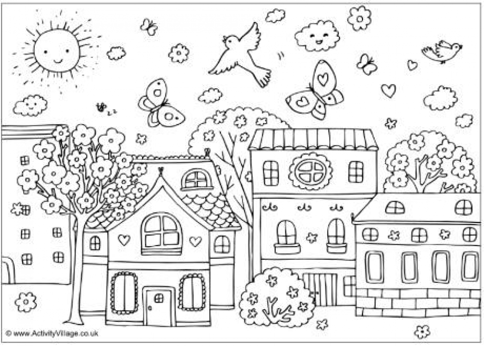 20+ Free Printable Spring Coloring Pages - EverFreeColoring.com