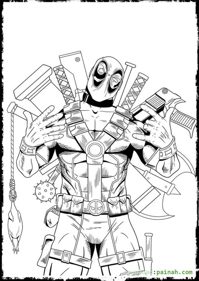 Deadpool Coloring Pages Free Printable   434405