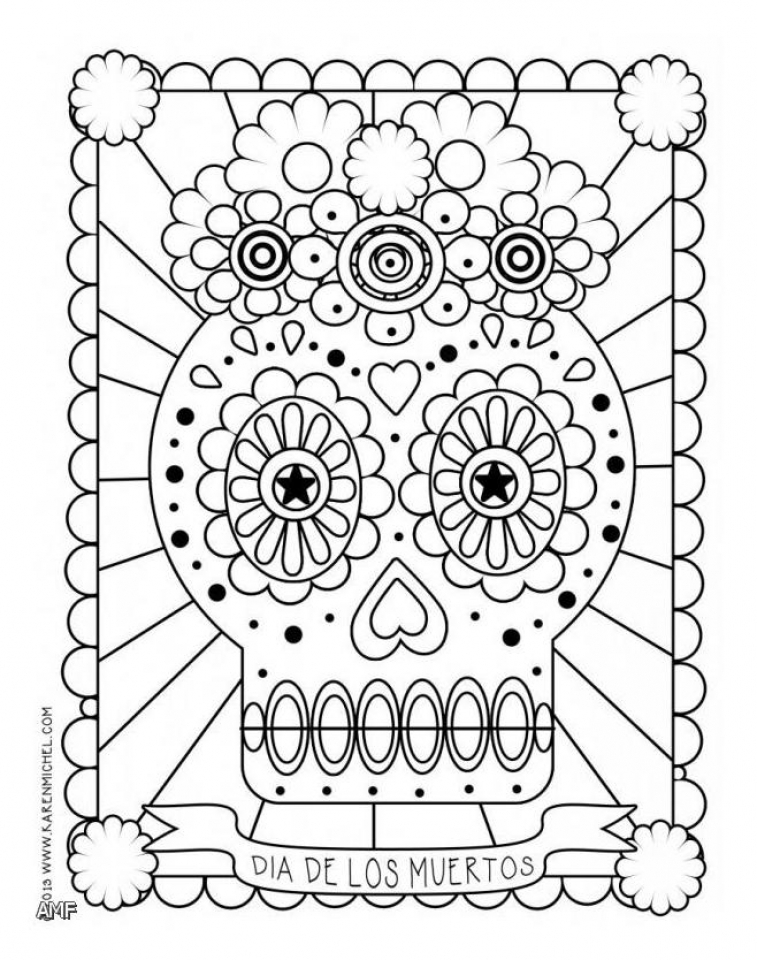 Get This Dia De Los Muertos Coloring Pages Free Printable Fyo103 !