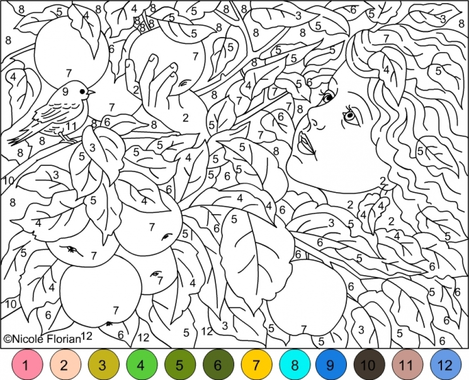 20+ Free Printable Hard Color By Number Pages For Adults -  EverFreeColoring.com