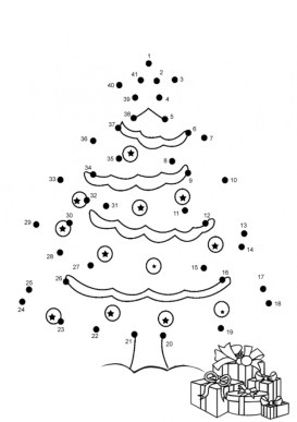 Free Christmas Dot to Dot Coloring Pages F5W4W
