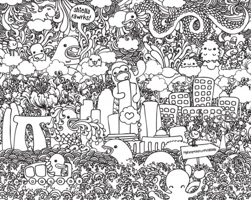 Free Doodle Art Coloring Pages for Adults CGT0P