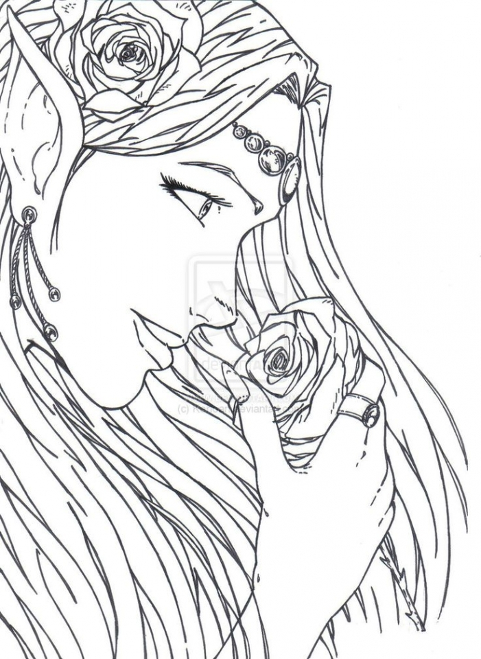 Free Elf Coloring Pages for Adults   354788