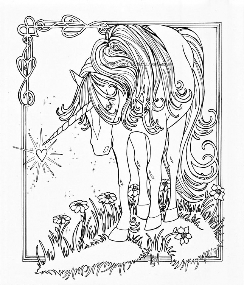 Free Printable Unicorn Coloring Pages for Adults   HJ782