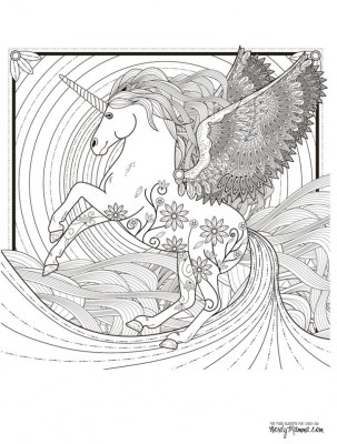 Free Unicorn Coloring Pages for Adults FZ759