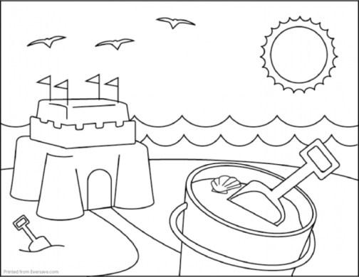 Printable Beach Coloring Pages Online N9F5U
