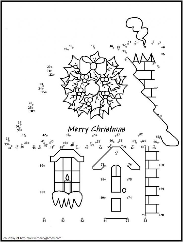 Printable Christmas Dot to Dot Coloring Pages Online   N9F5U