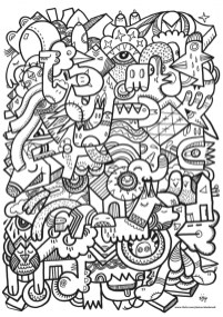 Printable Doodle Art Coloring Pages for Grown Ups hv65a