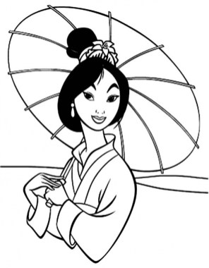 Printable Mulan Coloring Pages Online 2x531